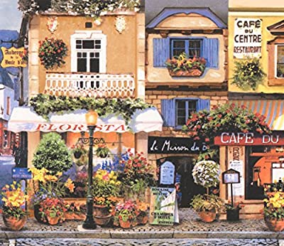 Retro French Town Paris Lille Restaurants Cafe Yellow Blue Wallpaper Border Vintage Design, Roll 15' x 7.75''
