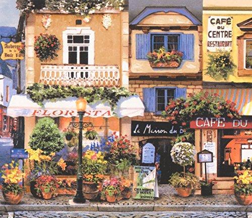 - Retro French Town Paris Lille Restaurants Cafe Yellow Blue Wallpaper Border Vintage Design, Roll 15' x 7.75''