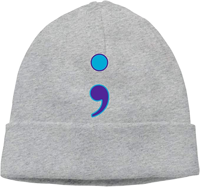 DLOAHJZH-Q Adult Unisex Suicide Prevention Awareness Live Love Semicolon Outdoor Knitted Hat