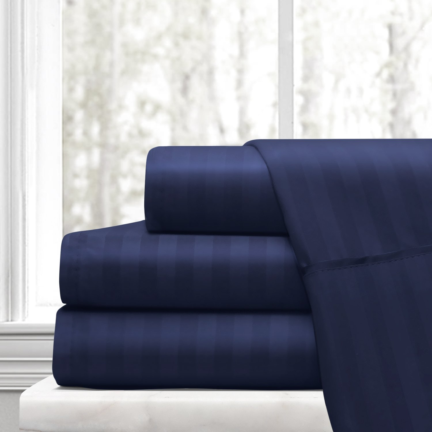 Beckham Hotel Collection Luxury Soft Brushed Microfiber 4-Piece Striped Sheet Set - Hypoallergenic & Stain Resistant with Embossed Stripes -King - Navy