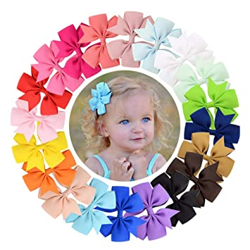 a526f7e001c0f Amazon.com   10 Pcs Ribbon Hair Bows Clip for Girls Toddler
