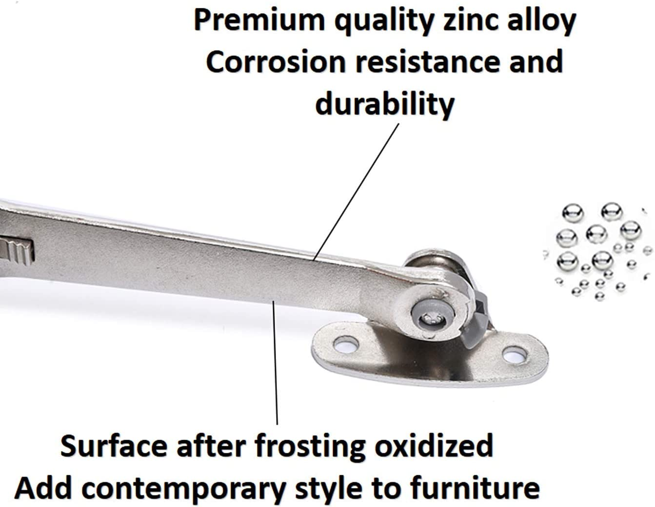 / Modern Style 1pair Perfect for Toy Box//Kitchen//Wardrobe//Cabinet Door 40lb Lid Stay Hinge in Satin Nickel QBOSO Folding Lid Hinge with Soft Close