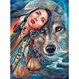 Bits and Pieces - 500 Piece Jigsaw Puzzle -Dream of the Wolf Maiden - Native American Wolf - by Artist Gloria West - 500 pc Jigsaw