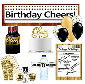 55th Birthday Party Decoration Kit W Gold Plates Napkins Cups Banner Water Bottle Labels Balloons