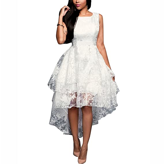 iShine Donna Vestiti Senza Maniche Elegante Abito da Sera Vestito Bianca da  Cerimonia Partito  Amazon.it  Abbigliamento d703a106bef