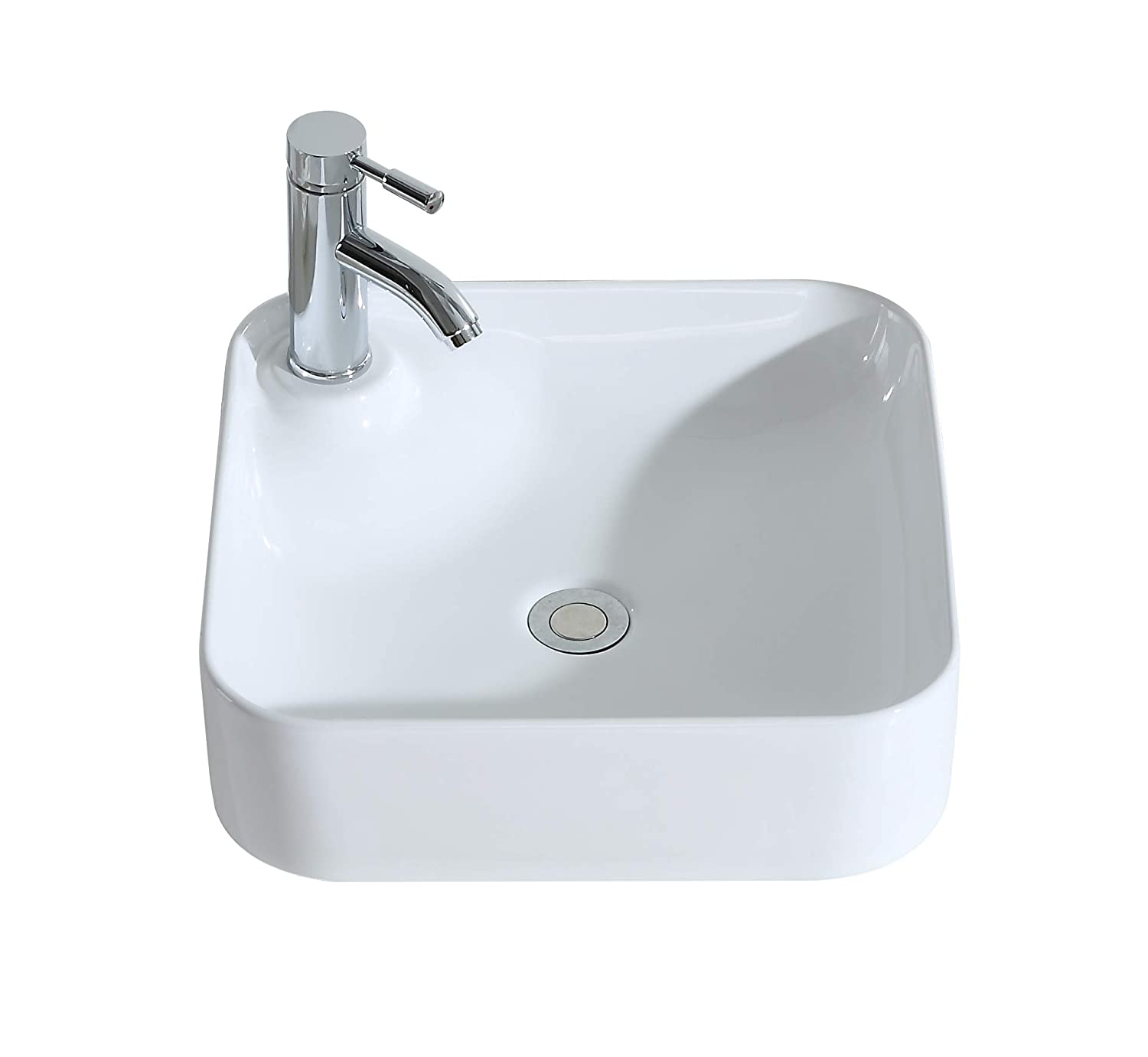 ERIDANUS Wash Basin Sink, [Series Jonny], Ceramic Vessel Sink with [Smooth Finish] Countertop Mounted [Easy Installation] for Lavatory Vanity Cabinet, Gloss White