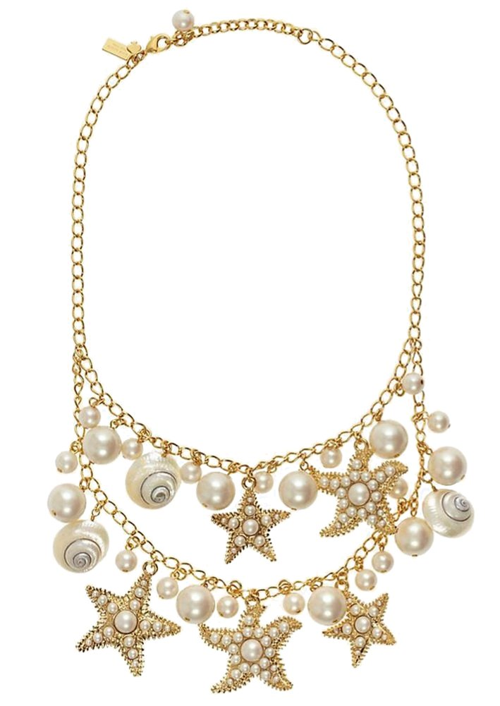 Kate Spade New York Coral Reef Double Row Simulated Pearl Starfish Necklace, 18''