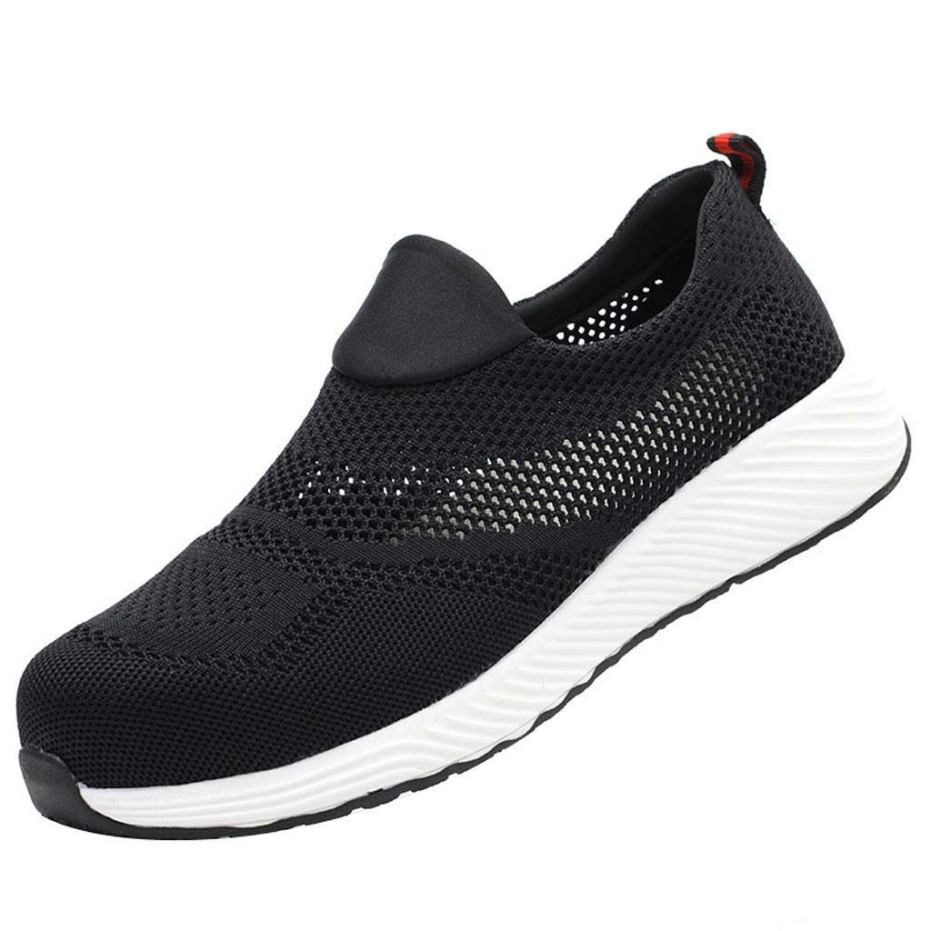 ZOMUSAR New! 2019 Men's Breathable Mesh Woven Work Shoes Anti-Smashing Shoes Labor Safety Shoes Black