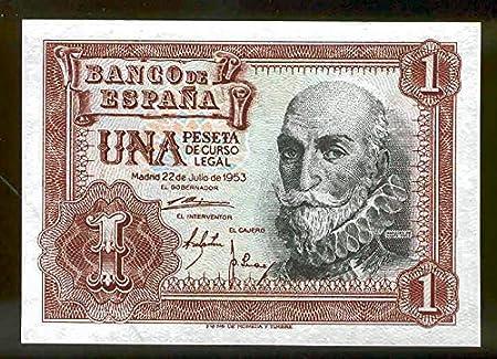 Banco de España billete 1 Peseta 1953 Miguel de Cervantes: Amazon.es: Juguetes y juegos