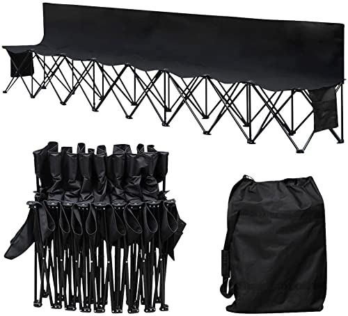 Yaheetech 8 Seats Portable Folding Bench Chairs For Camping Outdoor Waterproof Team Sports Sideline Bench