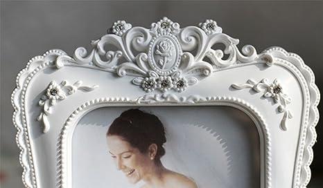 liuhoue Portaretrato Resina Blanco,Estilo Pastoral Marco de Fotos de artesanía Marco de Fotos de Regalo de cumpleaños creativos-A 10.2x15.3cm(4x6inch): ...