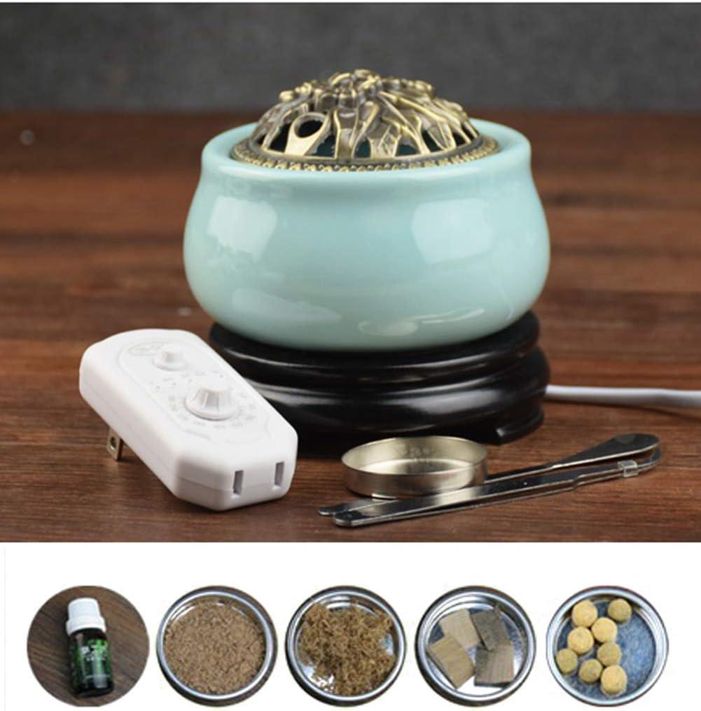 Horno de aromaterapia - Horno de aromaterapia de cerámica electrónica de control de temperatura de tiempo - Horno de aromaterapia Lámpara de aromaterapia de aceite esencial de horno de leña
