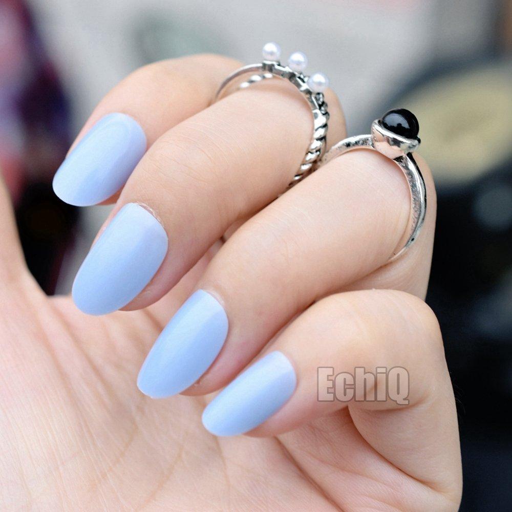 CoolNail 24pcs Oval Round Fake Nails Candy Baby Blue Acrylic Nails Full  Cover False Nail Art Tips