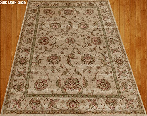 Home Must Haves Fax Beige Cream Brown Red Green Traditional Persian Floral Faux Silk Rug Carpet, ((3' x 5') Feet