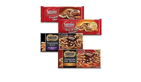 Nestlé Chocolate - Negro con Almendras (200 g) + Con Leche con Frutos Secos (200 g) + Relleno Dulce de Leche (240 g) + Relleno Crocanti (240 g): Amazon.es: ...