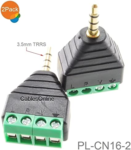 AV 3.5mm 4 Pin Male to AV Screw Terminal Stereo Jack Block Plug Connector B$IJ