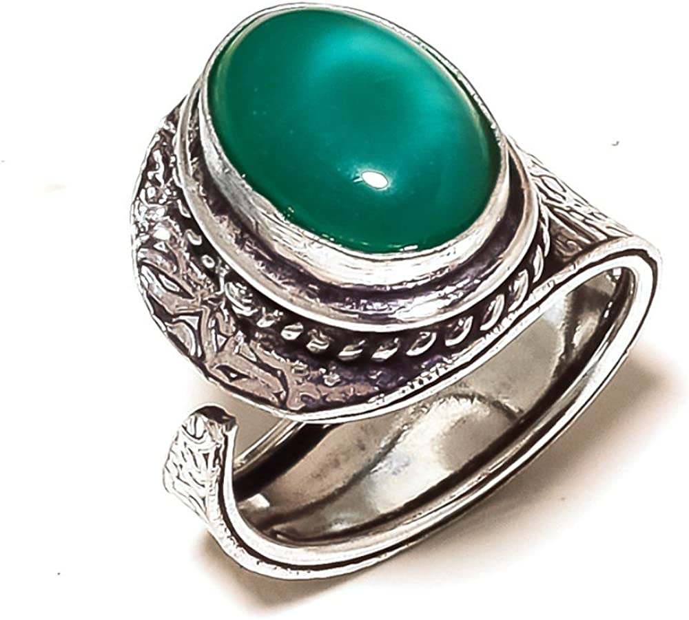 Sizable Outstanding Jewelry Green Onyx Sterling Silver Overlay 7 Grams Ring Size 8.5 US