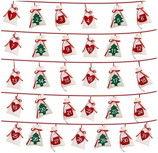 Newly Christmas Advent Calendar Home Office Decor Countdown Gift Fabric Pockets