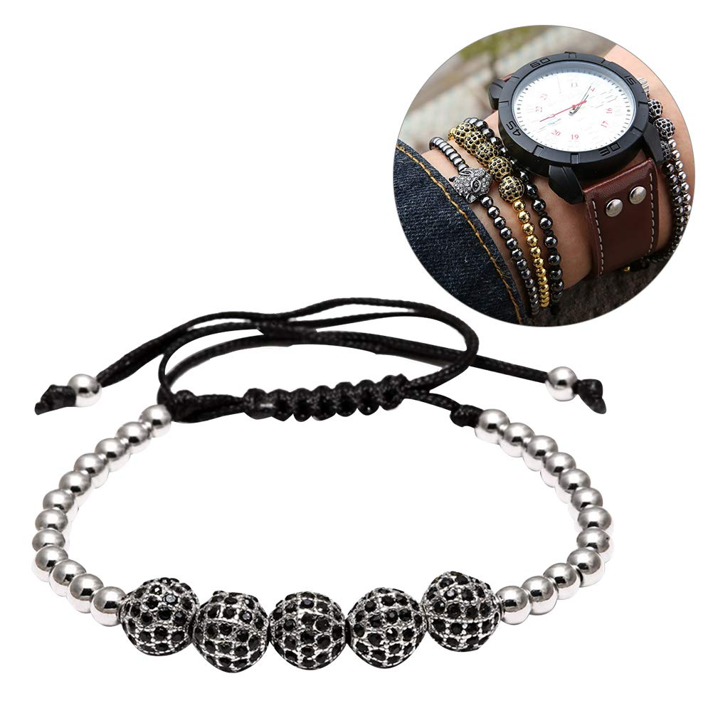 FENICAL Fashion Bracelet Bangle Adjustable Weaving Copper Beads Jewelry Male Decoration