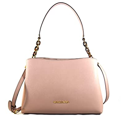 5bb0f17f0e5b Amazon.com  Michael Kors Sofia Large East West Saffiano Leather Satchel  Crossbody Bag Purse Tote Handbag (Fawn)  Shoes
