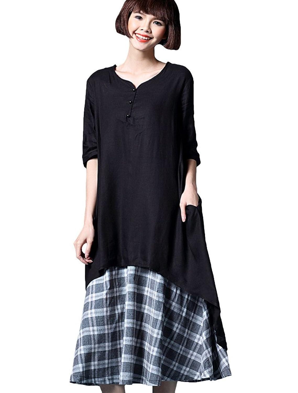 MatchLife Damen Double-Layer Freizeitkleider Plaid Kleider