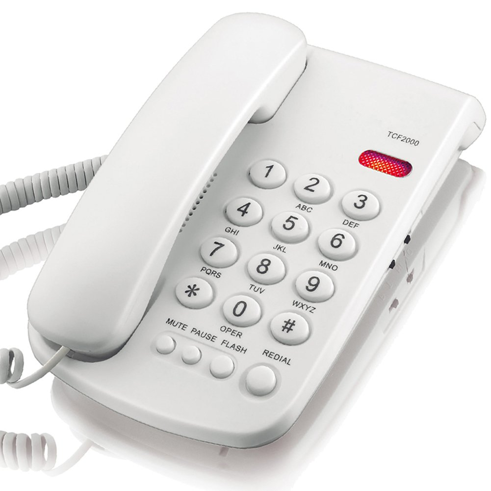 KerLiTar K-P041 Basic Corded Phone with Redial Mute Function Landline Telephone Wall Mountable(White)
