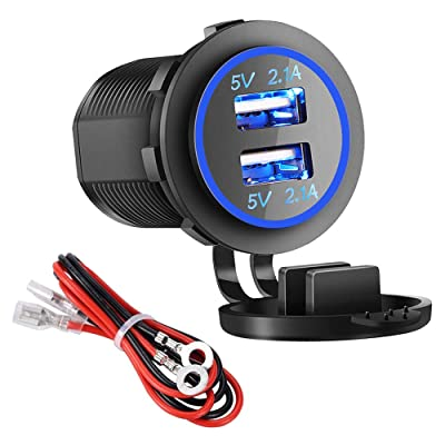 Dual USB Charger Socket Power Outlet - 2.1A & 2.1A for Car Boat Marine Mobile with Wire Fuse DIY Kit (4.2A-Blue)