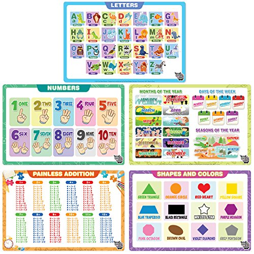 Fat Zebra Designs Educational Placemats - Set of 5 Learning Placemats: Letters, Numbers, Shapes, Addition & Month/Days/Seasons - Easy Clean, Durable & Reusable Kids Table Mats - 12x17 Inches