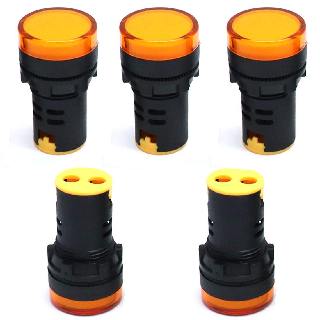ZXHAO AC 110V 20mA Yellow LED Pilot Light Panel Indicator Flush Panel Mount 7//8 22mm AD16-22DS 5pcs