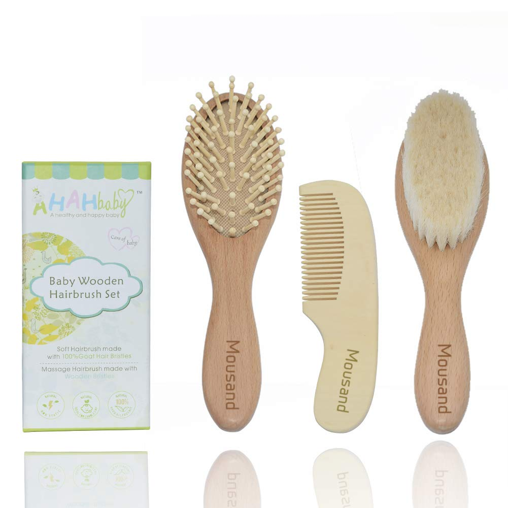 Wooden Baby Hair Brush and Comb Grooming Set for Newborns and Toddlers 3pc Natural Soft Goat Bristles Brush for Cradle Cap, Perfect Baby Shower & Registry Gift Mousand