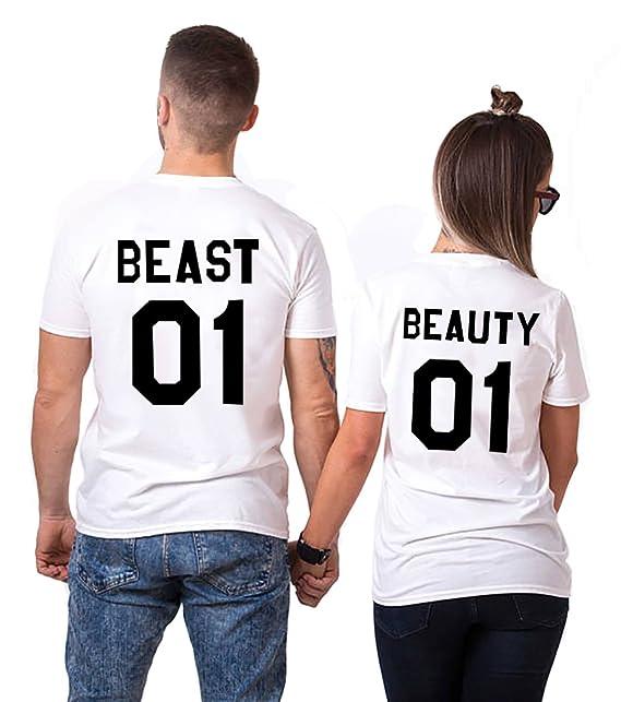 Pareja King Camisetas 100% Algodón Shirts 2 Piezas Queen T-Shirt Impresión 01 DE