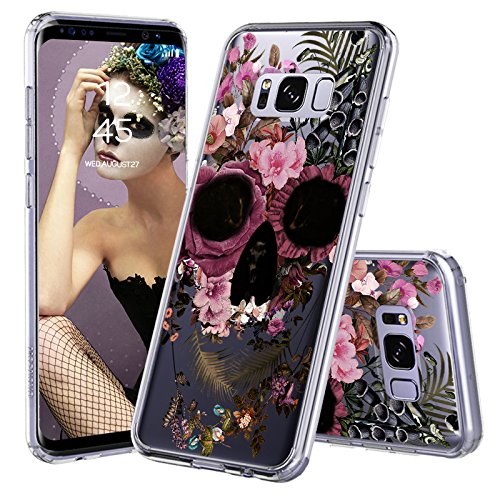 Skull Pattern Hard Case (Galaxy S8 Plus Case, Clear Galaxy S8 Plus Case, MOSNOVO Floral Skull Flower Pattern Clear Design Printed Plastic Hard Cover with TPU Bumper Protective Case Cover for Samsung Galaxy S8 Plus (2017))