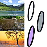 58mm Professional Lens Filter Accessory Kit (UV CPL FLD) for DSLR, Camera Lens Filters with 58mm Filter Thread + Filters Pouch