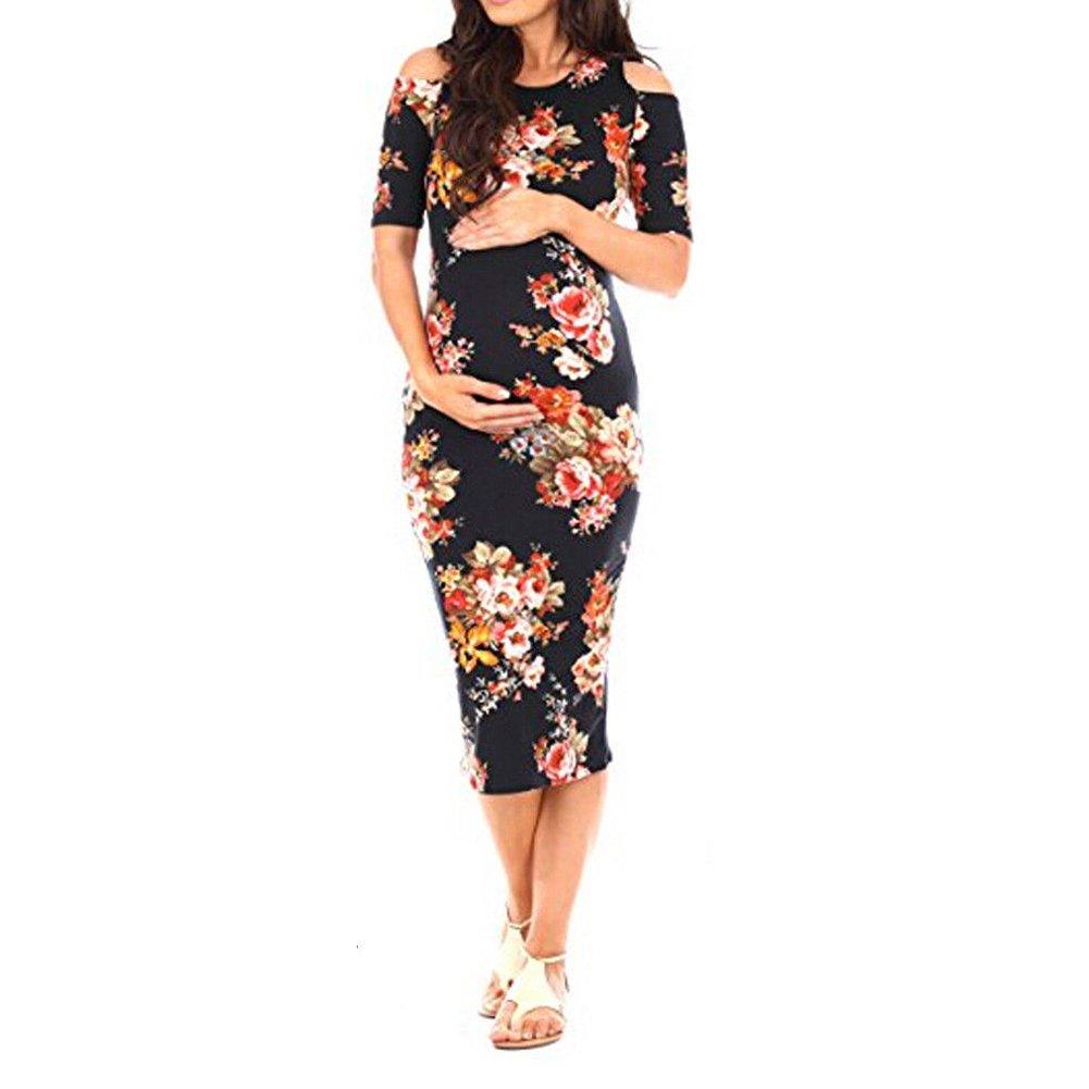 Meiyiu Women Pregnant Stylish Off-Shoulder Dress Flower Printing Round Collar Beach Wear Black S