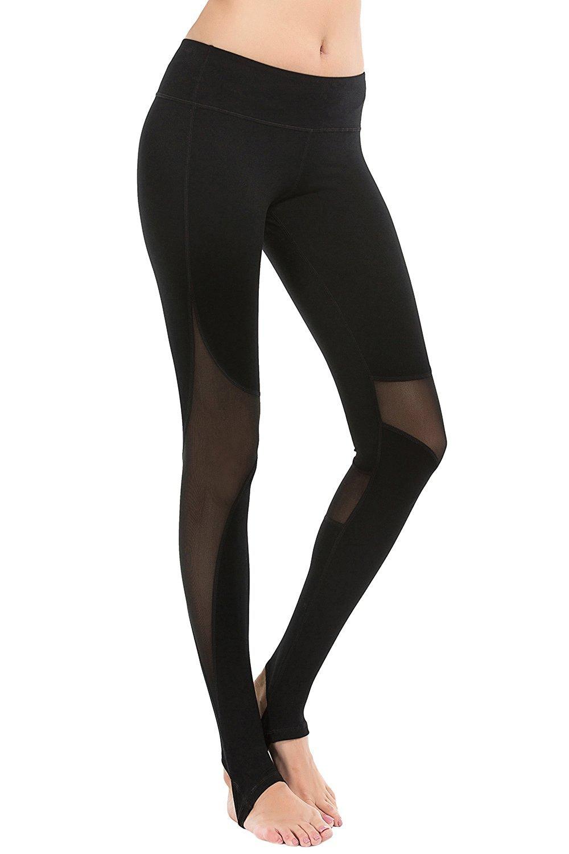 YIANNA Yoga Pants, Women's Mesh Panel Side Barre Stirrup Leggings Inner Pocket Workout Running Pants 4 Way Stretch Non See-Through Fabric, YA4007-Black-6
