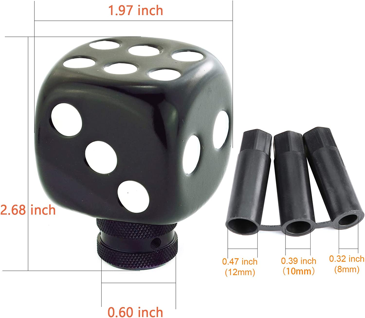 Black, White Arenbel Car Manual Knob Dice Stick Shift Knobs Shifting Shifter Handle fit Most Automatic Transmission Cars,