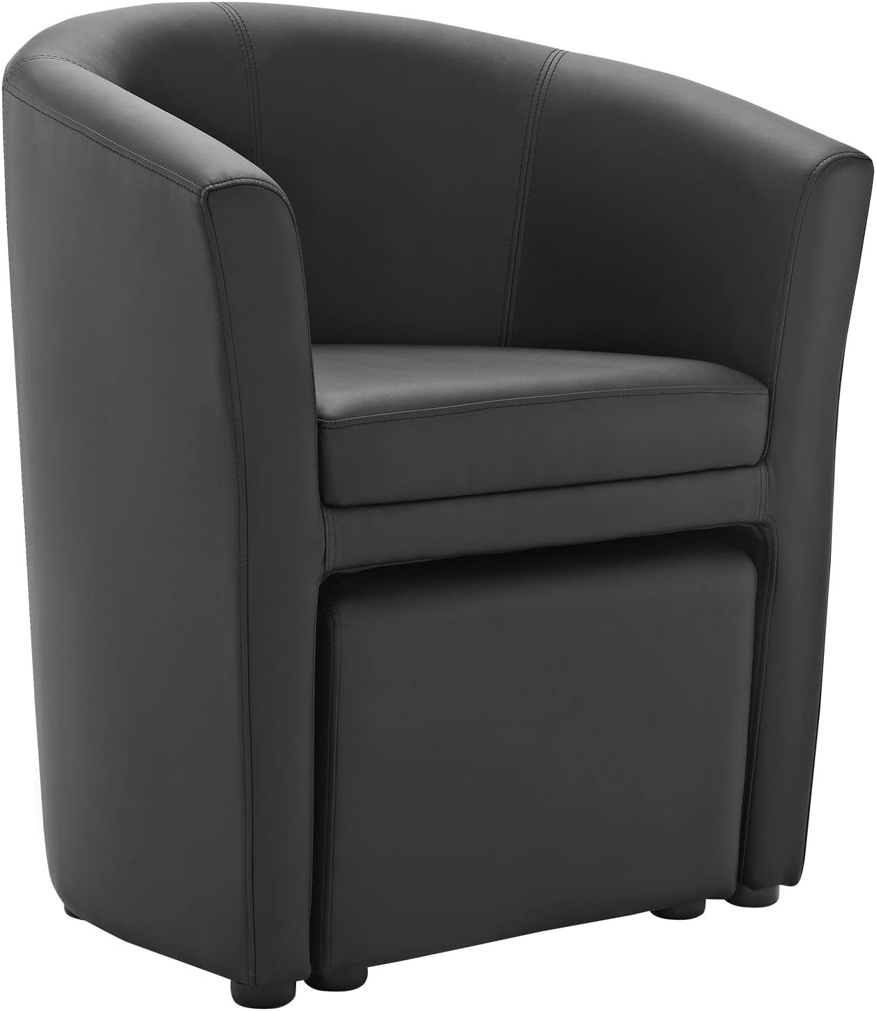 Modway Divulge Faux Leather Armchair and Ottoman Set in Black