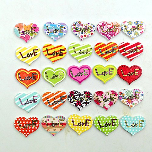 CHoppyWAVE 50Pcs Wooden Buttons Colorful Heart Shape for Sewing DIY Crafts Children