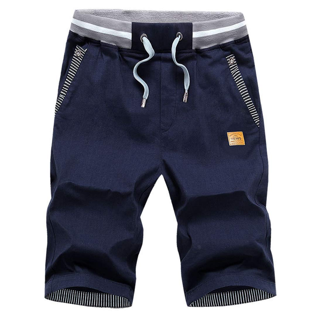 VICALLED Men's Shorts Casual Classic Fit Summer Beach Zipper Pockets Elastic Waist Shorts Dark Blue by VICALLED