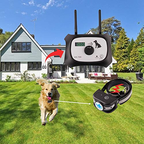 OKPET Wireless Dog Fence Pet Containment System, Safe Effective Beep/Shock Dog Fence, Adjustable Control Range 1000 Feet & Display Distance, Rechargeable Waterproof Collar (1 Dog System)
