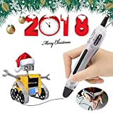 3D Printing Pen 4.0 Version - Non-Toxic - Won't Clog - One Button Operation Comes with 2 Free PLA Filament 1.75mm +2 Finger Stalls + Data Cable (Transparent)