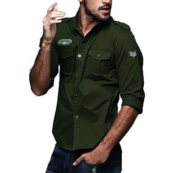 09053bdeedad2 Hombre Camisas Manga Larga Militar Estilo Color Sólido Camiseta De Acampada  Y Senderismo - Camisa para hombre (Verde del ejército