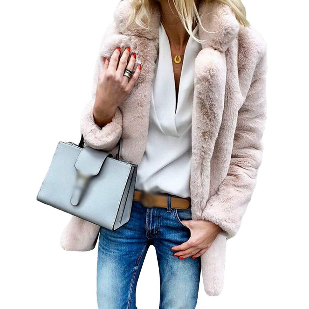 Ketamyy Mujer Otoño Invierno Color Sólido Manga Larga Solapa Abrigo Suave Cómodo Piel Sintética Chaqueta Outwear