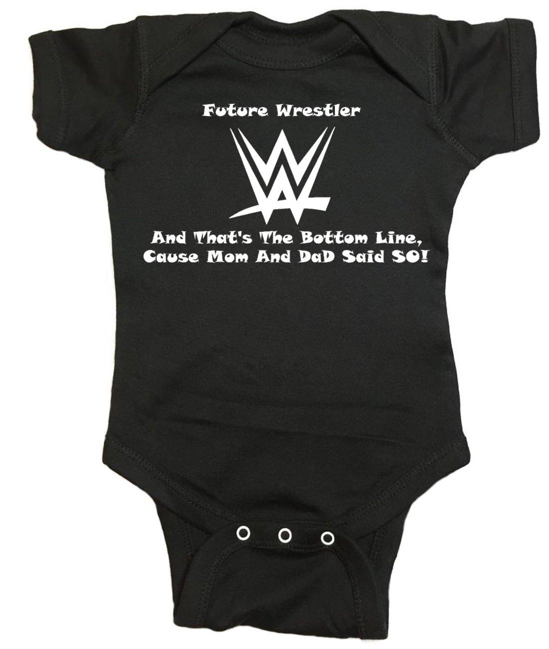 WWE Stone Cold Baby One Piece ''Future Wrestler'' Bodysuit (0M - Newborn, Black)
