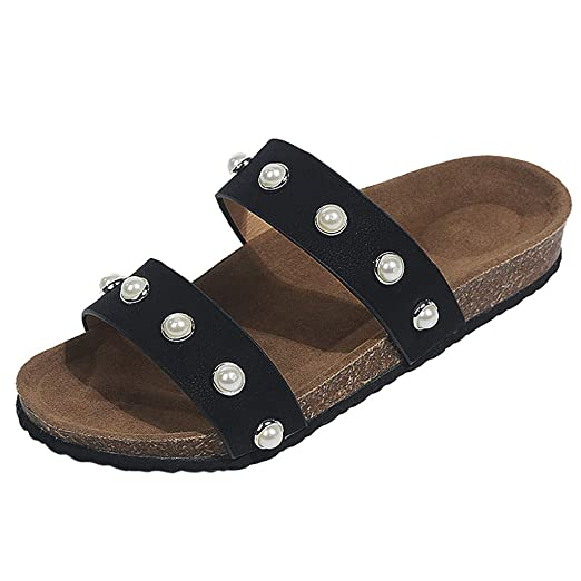 bfddc8c83 Aniywn Women s Casual Flat Pearl Slippers Summer Hollow Out Beach Sandals  Shoes Slippers Cork Sandals Black