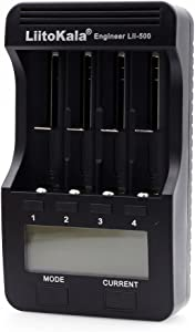 LiitoKala Lii-500 4 Slots Smart Intelligent Battery Charger for 3.7V Li-ion/ 1.2V Ni-MH Cylindrical Rechargeable Battery LCD Display
