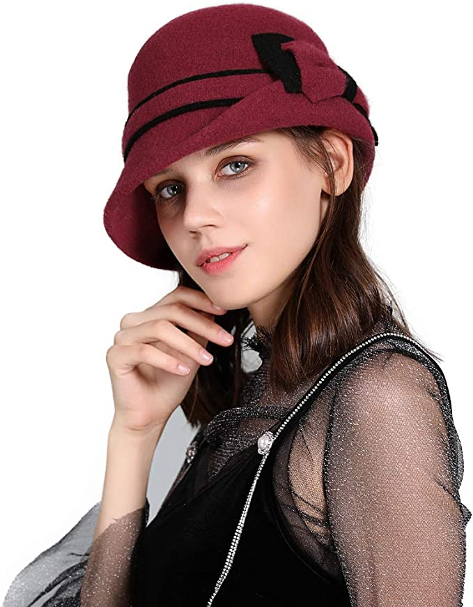 1960s – 70s Hats, Wigs, Gloves, Scarves Jeff & Aimy Women Winter Wool Bucket Hat 1920s Vintage Cloche Bowler Hat with Bow/Flower Accent $22.99 AT vintagedancer.com