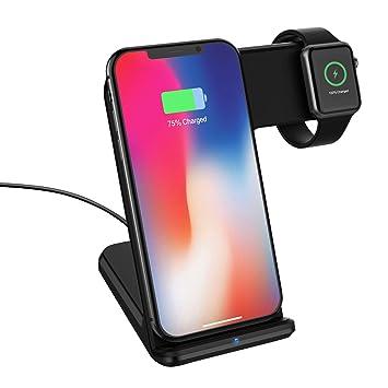 MoKo Qi Cargador Inalámbrico, Base de Carga Rápida 2 en 1 Compatible con Apple Watch Series 2/3, iPhone 11 Pro Max/11 Pro/11, Otros Dispositivos ...