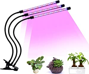 LED Plant Grow Light 60 LEDs Light AUTO & Off Every Day Two-Way Timing Function Red Blue 2:1 for Indoor Plants 360 Degree Adjustable Gooseneck 8 Dimmable Levels
