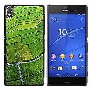 Be Good Phone Accessory // Dura Cáscara cubierta Protectora Caso Carcasa Funda de Protección para Sony Xperia Z3 D6603 / D6633 / D6643 / D6653 / D6616 // Nature Field Aerial Green